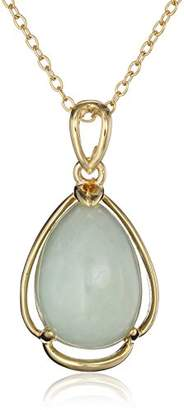 18k Yellow Gold Plated Sterling Silver Genuine Jade Teardrop Pendant Necklace