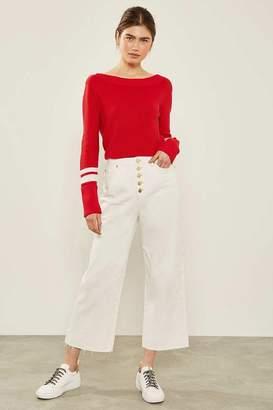 Mint Velvet Womens White Madison Button Jean - White