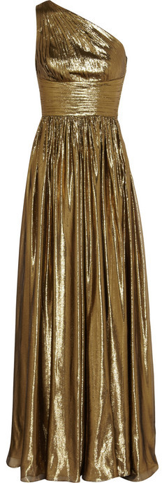 Michael Kors Metallic silk-blend gown
