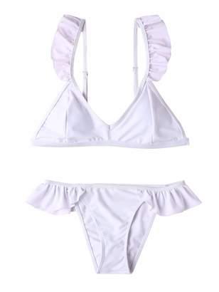 82898f6aa6c Mae Summer Womens Ruffle Bikini Sets Push-up V-Neck Padded Thong Two Piece