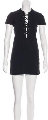 Reformation Lace-Up Mini Dress