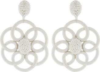 Oscar de la Renta Abstract Silk Flower Clip Earrings