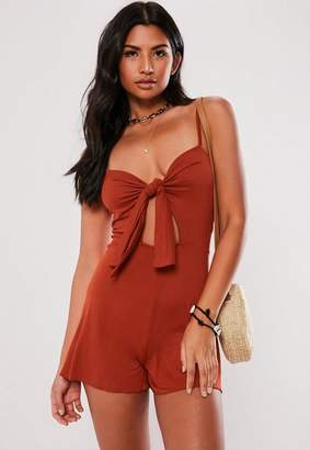Missguided Rust Tie Front Strappy Jersey Romper