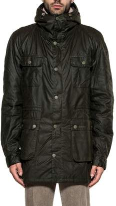 Barbour Green Brindle Waxed Cotton Hooded Jacket