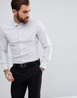 Asos Design Smart Stretch Slim Twill Stripe Shirt In Navy