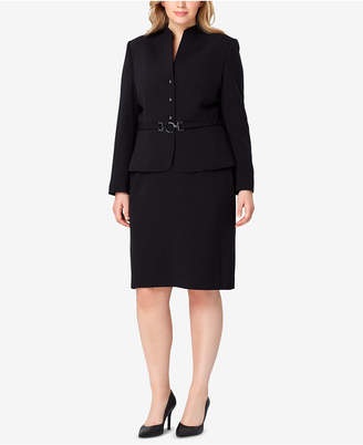 Tahari ASL Plus Size Belted Stand-Collar Skirt Suit