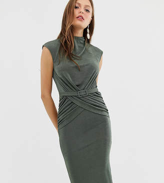 Asos Design DESIGN drape front wrap front belted midi dress