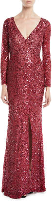 Rachel Gilbert V-Neck Long-Sleeve Sequin Embellished Evening Gown