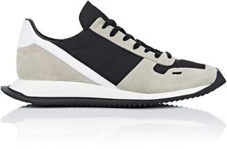 Rick Owens Men's Geometric-Sole Suede & Tech-Twill Sneakers