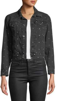 Current/Elliott The Baby Trucker Dot-Print Denim Jacket