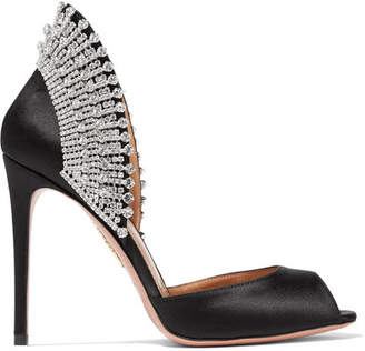Aquazzura Concorde Crystal-embellished Satin Pumps - Black