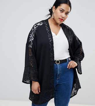Asos Lost Ink Plus Kimono In Lace