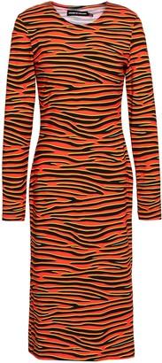 House of Holland Tiger-print Stretch-cotton Jersey Dress