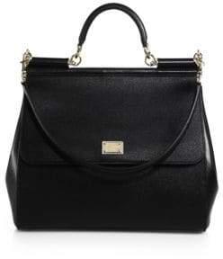 Dolce & Gabbana Large Sicily Leather Top Handle Satchel