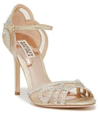 Badgley Mischka Embellished Mesh Stiletto Heel Sandal
