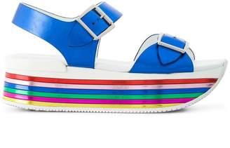 Hogan striped platform strappy sandals
