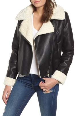 Blank NYC BLANKNYC Moto Jacket with Faux Shearling Lining
