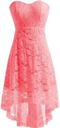 Miranda's Bridal Women's High Low Sweetheart Short Mini Lace Bridesmaid Dress US16