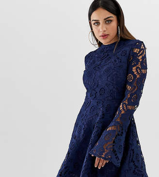 PrettyLittleThing exclusive lace fluted sleeve skater dress in navy