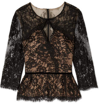 Marchesa Cutout Corded Lace Blouse - Black