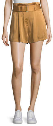 A.L.C. Deliah High-Waist Drapey Sateen Shorts