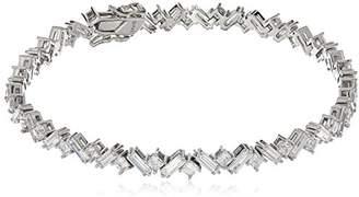 Swarovski Platinum Plated Sterling Flowers Zirconia Princess Baguette Bracelet