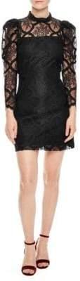 Sandro Puff Sleeve Lace Mini Dress