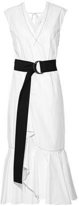 Derek Lam 10 Crosby Belted Ruffle-Trimmed Cotton-Poplin Midi Dress