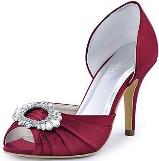 ElegantPark A2136 Women Satin Peep Toe Ruched Rhinestones Pumps High Heel Evening Prom Shoes US 8