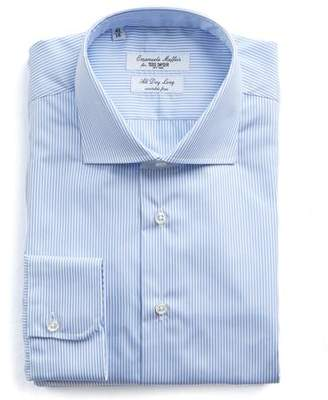 Todd Snyder Emanuele Maffeis + Light Blue Stripe Wrinkle Free Dress Shirt