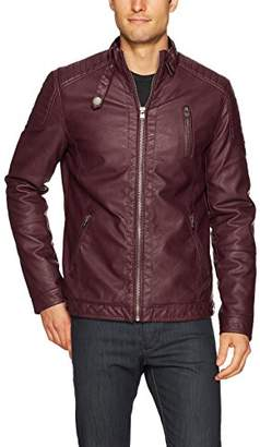 X-Ray Men's Slim Fit Moto Faux Leather Jacket with Quilting Detail