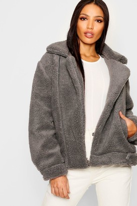 boohoo Teddy Faux Fur Aviator