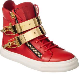 Giuseppe Zanotti Double Strap Leather High-Top Sneaker