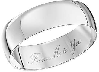 Theia Unisex 9 ct White Gold Heavy D Shape, Engraved From Me to You, Polished 6 mm Wedding Ring - Size T