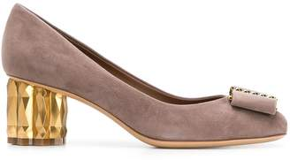 Salvatore Ferragamo Mary Jane embellished heel pumps