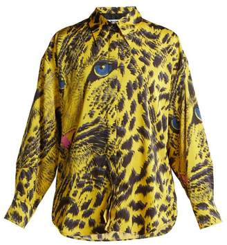 MSGM Leopard Print Satin Shirt - Womens - Yellow
