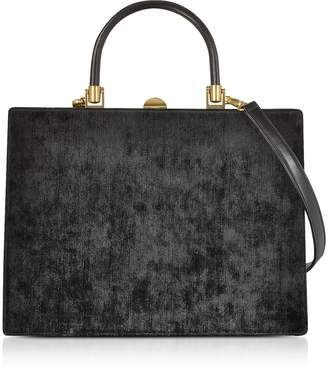 Rodo Black Fabric and Leather Squared Satchel Bag