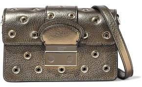 RED Valentino Eyelet-Embellished Metallic Textured-Leather Shoulder Bag