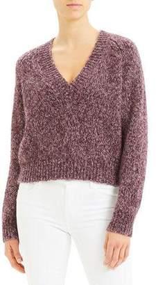 Theory Marl V-Neck Airy Alpaca Sweater