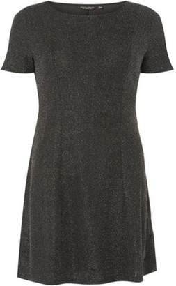 Dorothy Perkins Womens Silver Glitter Fit And Flare Dress
