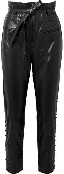 Instinct Belted Leather Tapered Pants - Black