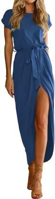 Reiss Herose Womens Cotton Blended Slim Fit Ruched Waist Wrap Hem Maxi Dress S Grey
