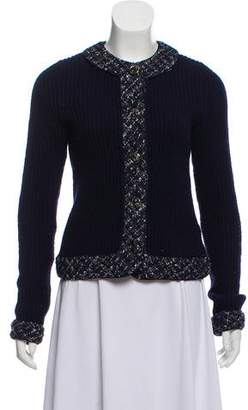 Tory Burch Wool Tweed-Accented Sweater