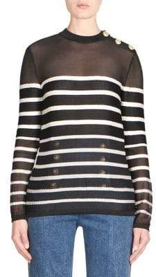 Balmain Breton Stripe Wool Sweater