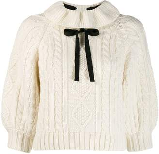 RED Valentino bow-embellished cable knit jumper
