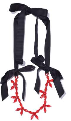 Simone Rocha Flower Ribbon Necklace in Red