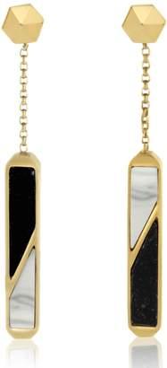 Edge of Ember - Hex Prism Jade & Marble Earrings