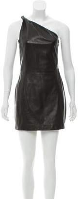 Saint Laurent Leather One-Shoulder Dress