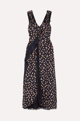 Self-Portrait SelfPortrait - Twisted Ruffled Floral-print Satin-twill Dress