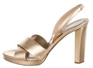 Diane von Furstenberg Metallic Leather Slingback Sandals